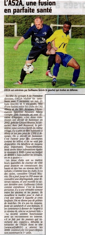 Article du Courrier Picard du mercredi 2 décembre 2015 en page sports