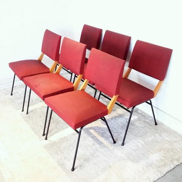 Suite de 6 chaises métal bois et skaï années 50