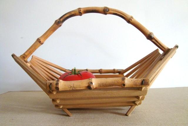 corbeille à fruits en bambou vintage