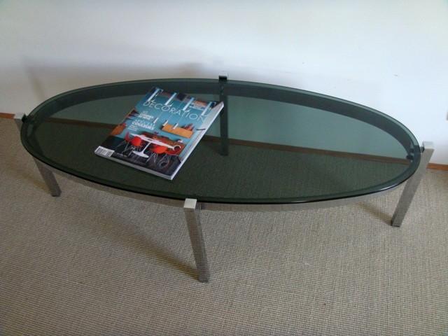 Table basse ovale chrome / fumé vintage années 70
