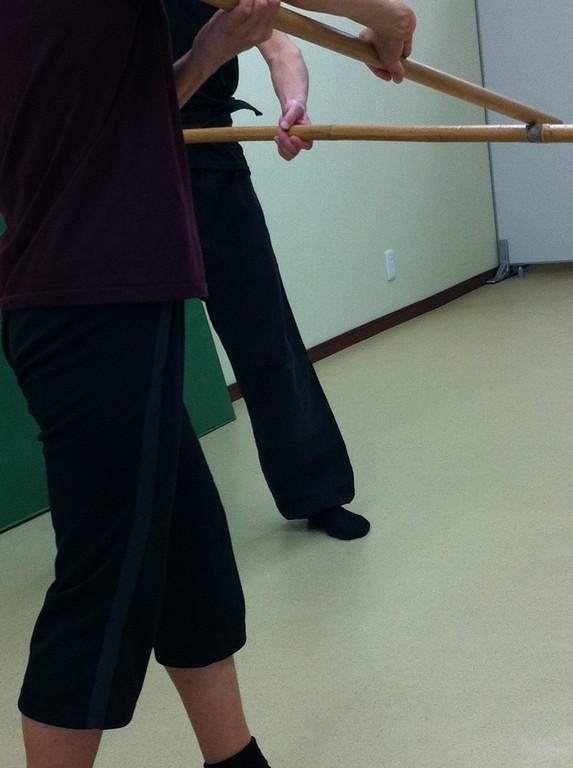 健康太極拳教室で、少し棒術。