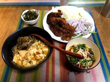 6月27日木曜日、Ohana夕食「とんかつ、麻婆豆腐・茄子丼、そうめん、茹で昆布生姜醬油」