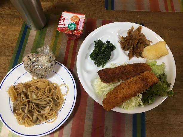 6月1日土曜日、Ohana夕食「イカフライ、いか天ぷら、線キャベツ、ほうれん草のおひたし、ごぼうきんぴら、パスタ、おにぎり」