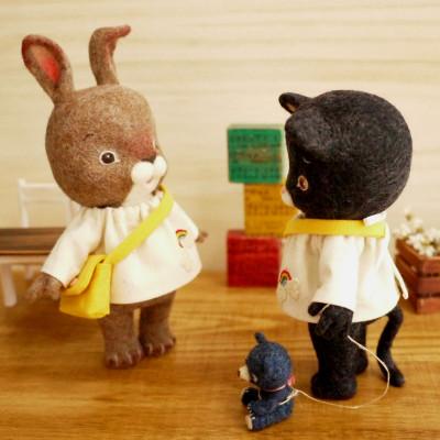 幼稚園児 うさぎちゃん&黒ねこちゃん