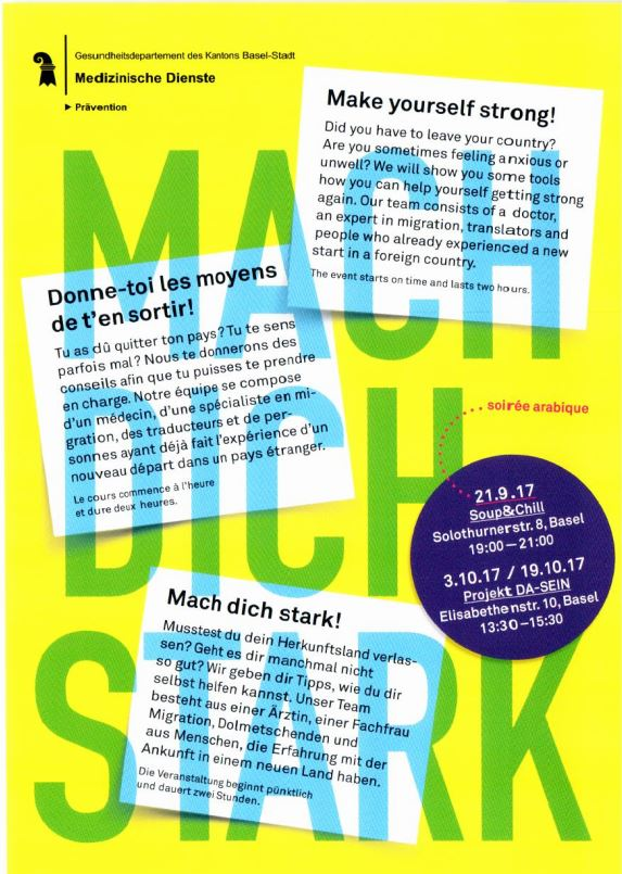 "Pilot project ""Mach dich stark"" of the Health department in Basel with the use of the book and the case"