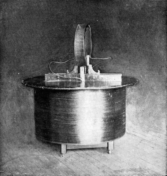 Fig. 9. — Experiment showing play of electric sparks between condenser plates, produced by electric charge. The coil, standing in the center of a large room, is unconnected with the energizing circuit. (From flash-light photograph.)
