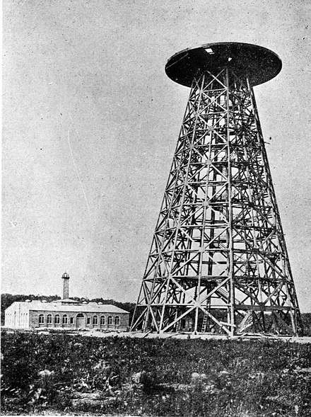 Tesla's Wardenclyffe plant in partial stage of completion. Work on the cupola had not yet begun.