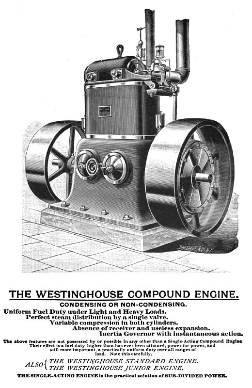 1893 Ad-Westinghouse Machine Co., Compound Steam Engine