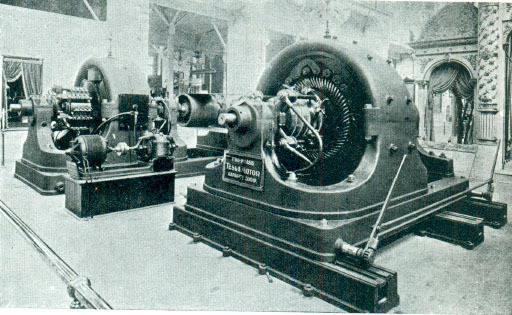 Tesla's Polyphase Alternating Current 500 horse power generator, in Westinghouse Exposition.