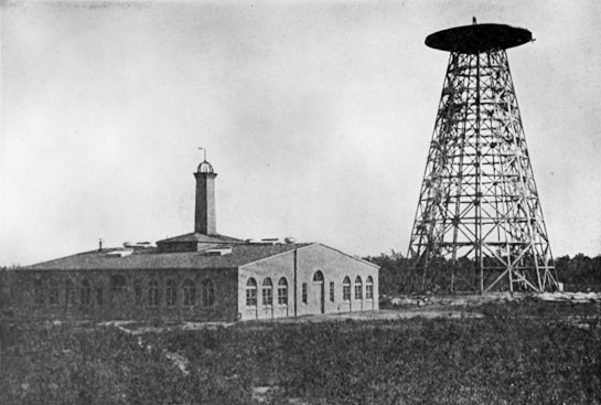Tesla's Wardenclyffe plant on Long Island in partial stage of completion. Work on the 55-foot diameter cupola had not yet begun.