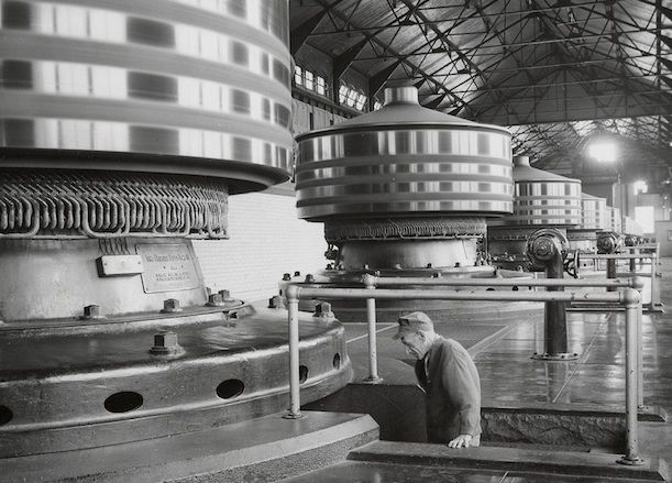 A 1953 photo of the original Westinghouse generators at the Niagara Falls power plant. From the Kenneth Swezey Papers in the Archives Center of the American History Museum.
