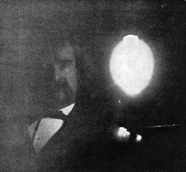 Fig. 4. — Phosphografh of Mr. Clemens (Mark Twain), taken in the Tesla laboratory January, 1894. Time of exposure, ten minutes.