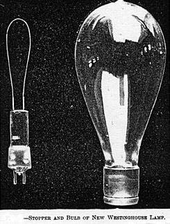 Stopper and bulb of new Westinghouse lamp. The Electrical Engineer, Vol XV, No 248, Feb 1, 1893, pg 108