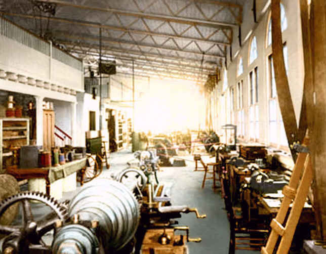 (Coloured photo) The Workshop area contained a Glass Blowing facility, 8 metal lathes and some other tools