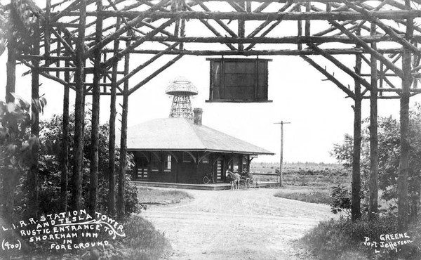 LIRR Station & Tesla tower - Rustic entrance to Shoreham in foreground