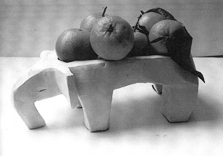 Eléphant - Coupe - Terre cuite blanche - 35x15 cm (SCO14) VENDU
