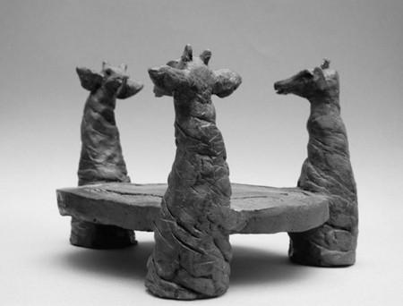 Girafes - Plat - Terre cuite noire - 17x25 cm (SCO19)