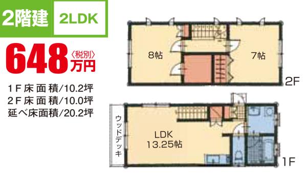 2階建2LDKタイプ20.2坪