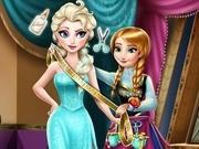 Игра Холодное сердце Анна шьет Эльзе платье