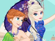 Игра одевалка путешественницы Анна и Эльза
