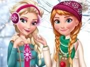 Игра Холодное сердце зимняя одевалка Эльзы и Анны