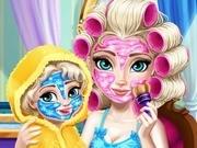 Игра Холодное сердце макияж Эльзы и ее дочки