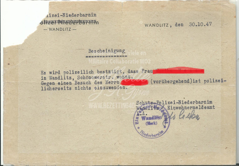 Schutz Polizei Niederbarnim Wandlitz Einwohnermeldeamt.