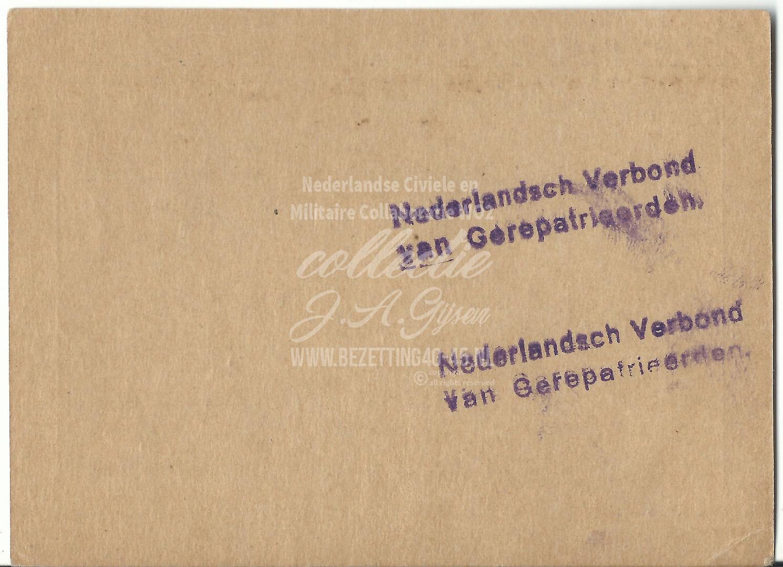 Bewijs van Lidmaatschap Nederlandsch Verbond Van Gerepatrieerden (N.V.V.G.) 1948.