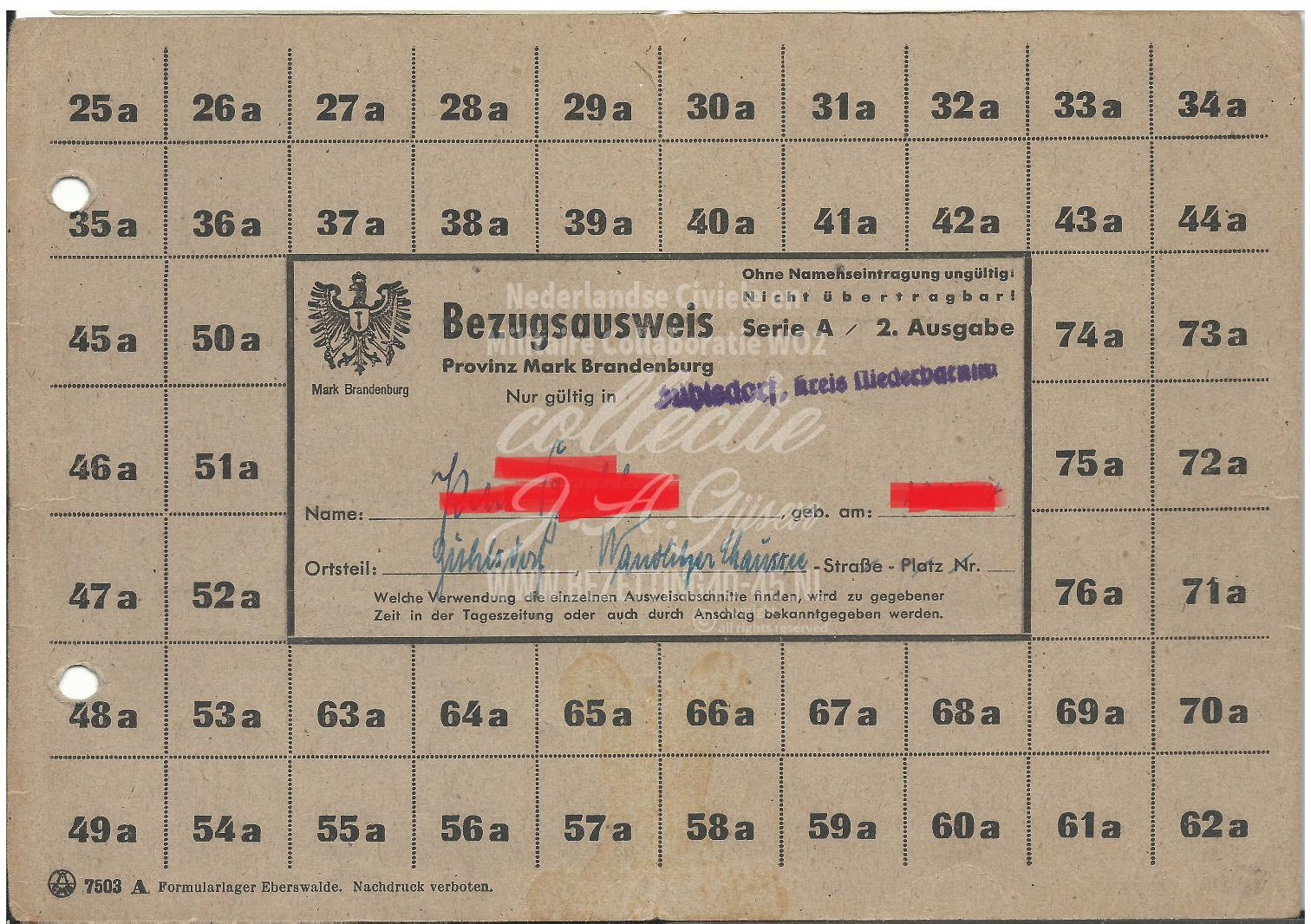Mark Brandenburg Zühlsdorf Niederbarnim Bezugsausweis.