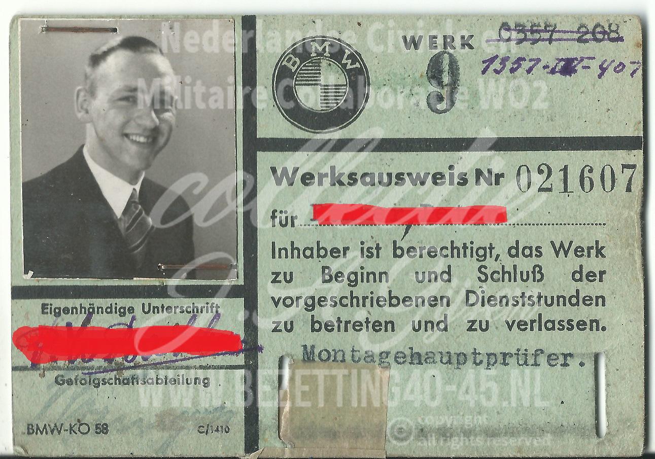 Werkausweis pass worker BMW Factory Berlin 1942 - 1945 .