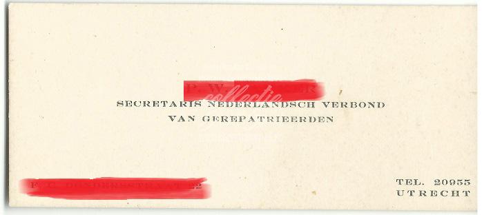 Visitekaartje Secretaris Nederlandsch verbond van Gerepatrieerden
