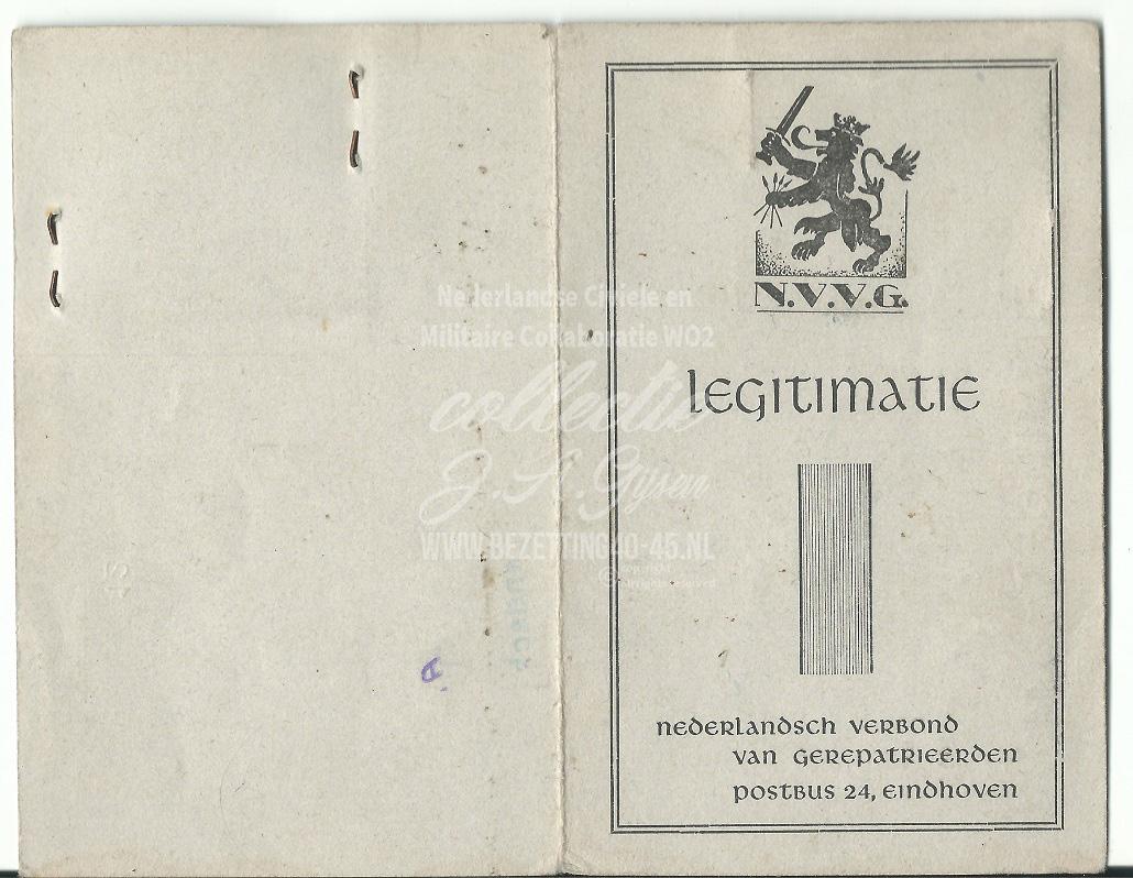 Legitimatie Nederlandsch Verbond Van Gerepatrieerden (N.V.V.G.) 1946.