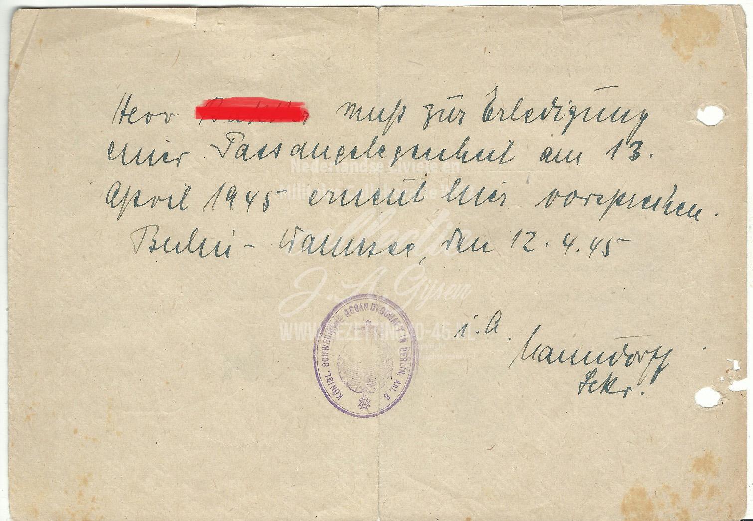 Der Umtsorsteher als Ortspolizeibehörde Bescheinigung 10-4-1945.