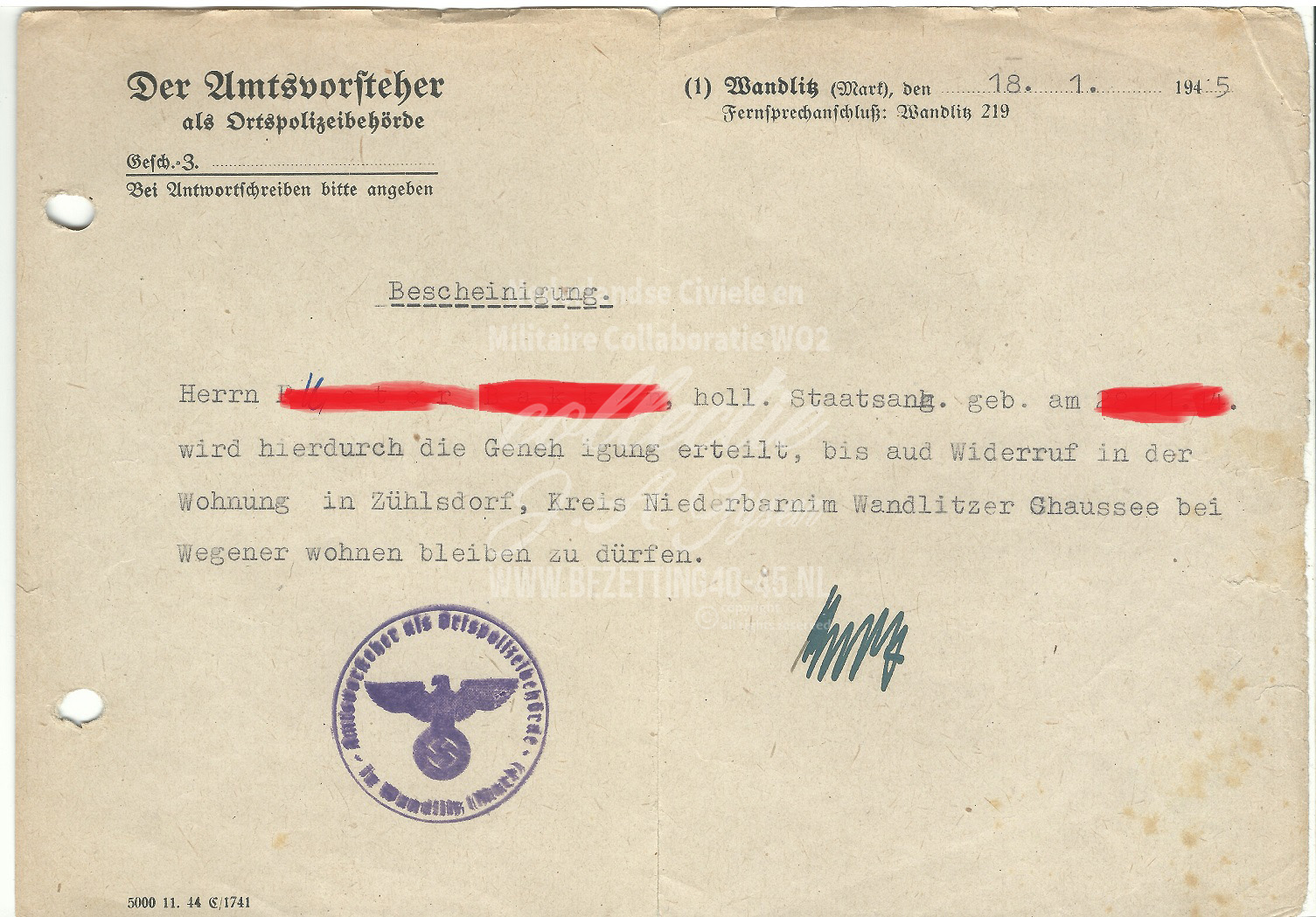 Der Umtsorsteher als Ortspolizeibehörde Bescheinigung 18-1-1945.