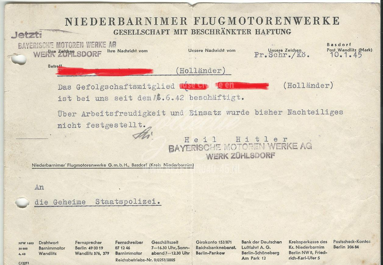Bayerische Motoren werk AG werk Zuhlsdorf Geheime Staatspolizei 10-1-1945.