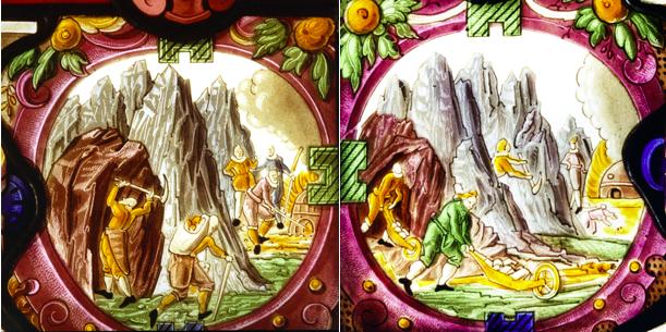 """Ausschnitt aus dem Glasgemälde """"Thomas von Schauenstein und Ehrenfels zu Haldenstein, Freiherr und Ritter, anno 1614. Bergbau im Schams."""