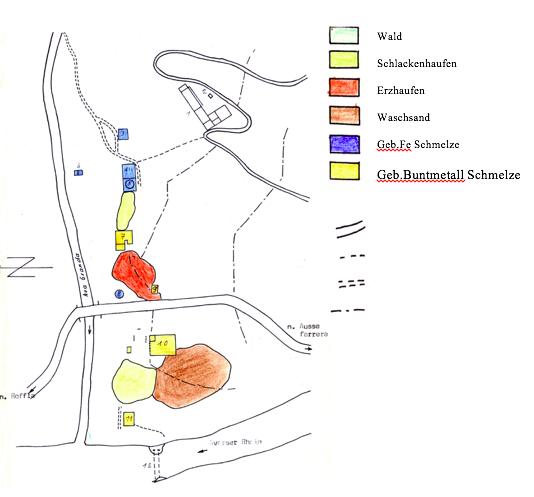 Im Gebiet zwischen den Knappenhäusern und der heutigen Kantonsstrasse stand die Eisenschmelze, in der das Eisenerz aus den zahlreich vorhandenen  Eisenerzgruben des Ferreratals verarbeitet wurde.