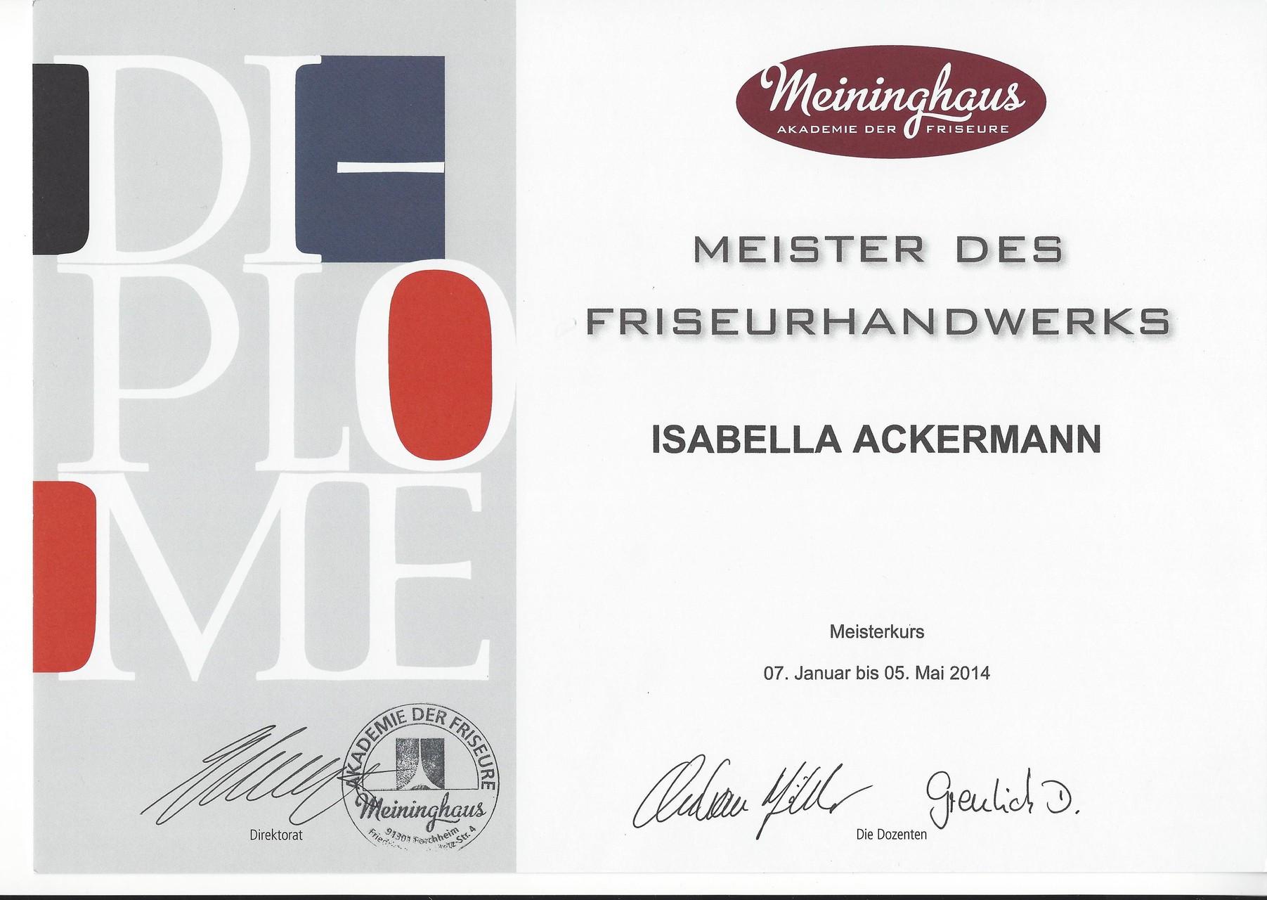 Meisterbrief bei Meininghaus in Forchheim