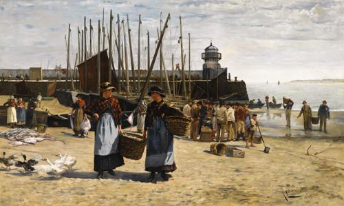 Alberto Ludovici Jnr  - Fish Sale, St Ives 1883