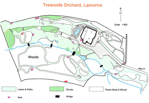 Plan of 'Trewoofe Orchard' garden in 2013; whereas Cecily's garden at 'Vellensagia' and the garden that she admired at 'Rosemerrin' have been reclaimed by nature, that at 'Trewoofe Orchard' has until recently been lovingly cared for by the Watersons