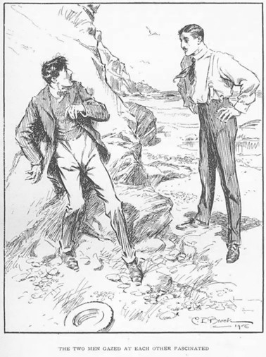C.E. Brock illustration from 'The Kinsman' showing the two cousins meeting for the first time on Coffin Bay beach