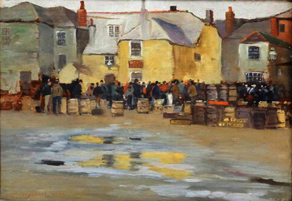 Carlton Theodore Chapman  'Fish Sale outside 'The Sloop Inn', St Ives