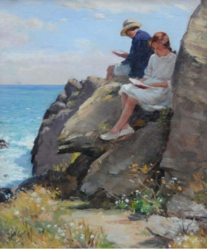 William Kay Blacklock  'On the Rocks, Polperro' (featuring his wife, Nellie and daughter)