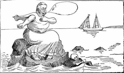 Caricature of Julius Olsson as a siren - the logo of The Siren