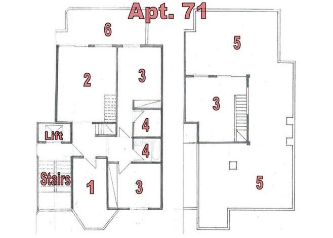 Grundriss der Penthousewohnung