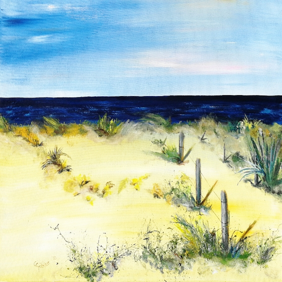 Acrylbild, Grenzenlos, Meer, Strand, Sommer, Sonne, blau, gelb, warm