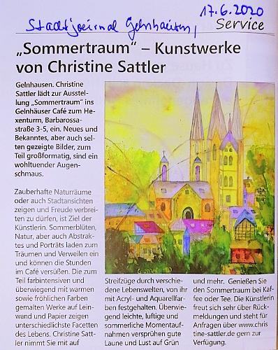 Presse, Stadtjournal Gelnhausen, Christine Sattler, Café zum Hexenturm, Sommer 2020