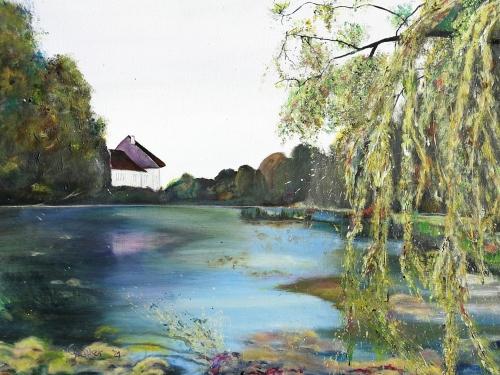 Bild in Acryl, See, Haus, Schlosspark, blau, grün, Haus in der Ferne