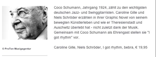"""Niels Schröder und Caroline Gille schufen die Graphic Novel """"I got Rhythm"""" über das Leben von Coco Schumann, der Jazz-Legende und dem Holocaust-Survivor. Er ist Ehrengast bei der Buchvorstellung."""