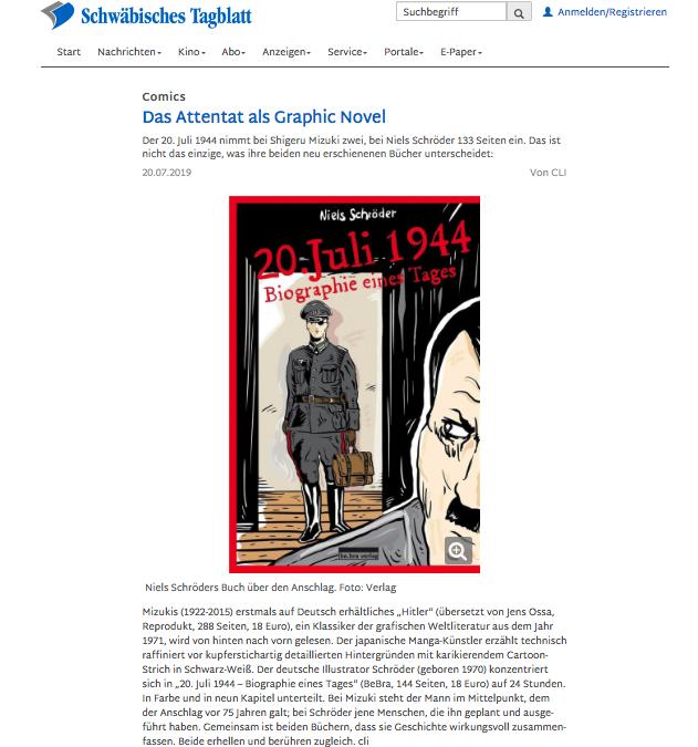 """Stauffenberg. Attentat vom 20. Juli 1944: Das Schwäbische Tagblatt berichtete über die Neuerscheinung der Graphic-Novel """"20. Juli 1944. Biographie eines Tages"""" von Niels Schröder. © Niels-Schröder 2019."""